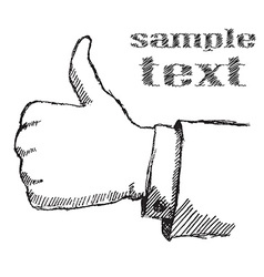 Handdrawn sketch like hand isolated on white vector