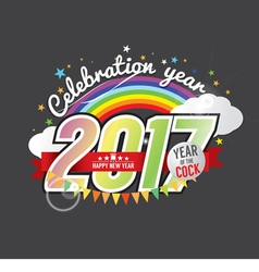 Happy New Year 2017 Year Of The Cock vector image vector image