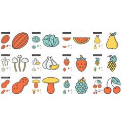 Healthy food line icon set vector