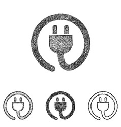 Plug icon set - sketch line art vector image