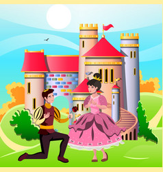 princess and knights standing in front of the vector image vector image