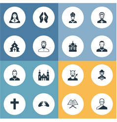 set of simple faith icons elements catholic vector image vector image