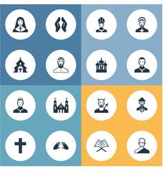 Set of simple faith icons elements catholic vector
