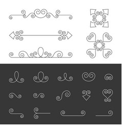 set of symmetry ornate calligraphic vector image