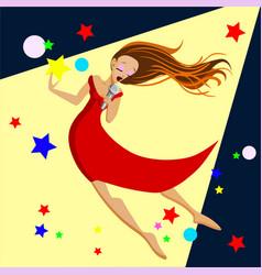 singing girl pop singer flat vector image