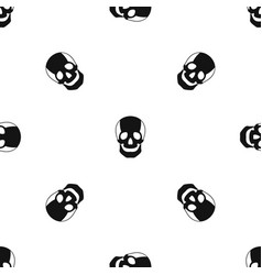 skull pattern seamless black vector image vector image