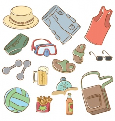summer mans vacation icons set vector image vector image
