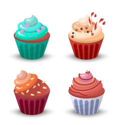 Sweet food chocolate creamy cupcake set isolated vector