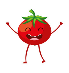 tomato fresh vegetable kawaii character vector image