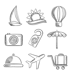 Travel and tourism sketched icons set vector image vector image
