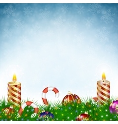 Two burning Christmas candle vector image