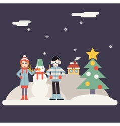 Winter geek hipster happy family characters making vector