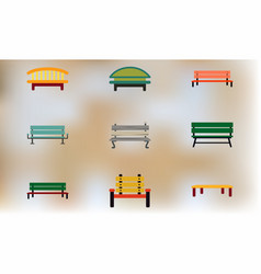 Wooden park benches set vector