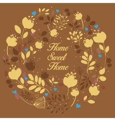 Yellow floral ring home sweet home vector