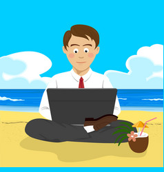 Young man working with laptop at tropical beach vector