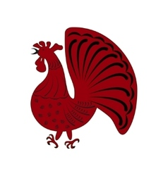 Zodiac symbol red rooster vector