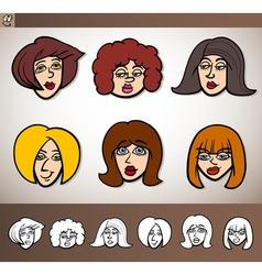 cartoon women heads set vector image
