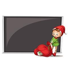 An elf beside a blank board vector image