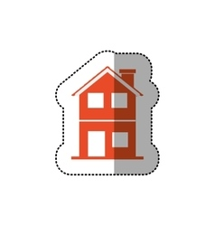 Sticker of orange house of two floors vector