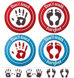 Conceptual feet and hand signs set vector