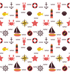 Marine cartoon seamless pattern sea theme vector