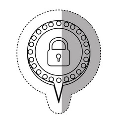 Monochrome sticker with padlock and circular vector