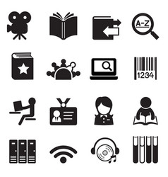 Library icons symbol 2 vector