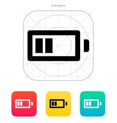 Half charge battery icon vector
