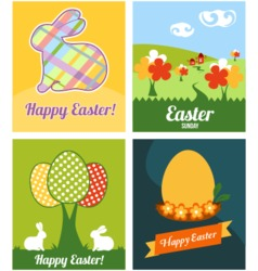 Easter cards with rabbits and eggs vector image
