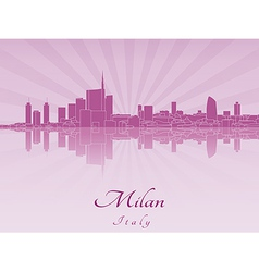 Milan skyline in purple radiant orchid vector
