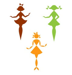 Set of silhouettes of girls vector