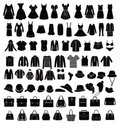 Men and women clothes and accessories silhouette vector