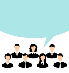 Unity of business people team with speech bubble - vector