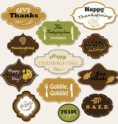Set of 12 isolated thanksgiving frames and labels vector