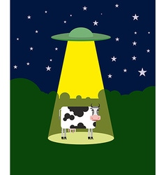 Ufo abducts a cow space aliens and cattle flying vector