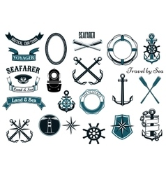 Nautical and marine heraldic elements vector