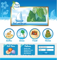 Cartoon template for travel site vector