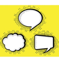 Set of blank pop art comic book speech bubble vector