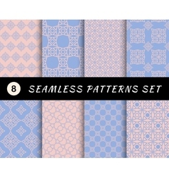 Seamless patterns set geometric textures vector