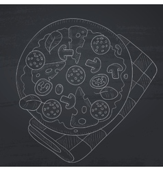 Delicious pizza with salami vector
