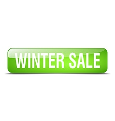Winter sale green square 3d realistic isolated web vector