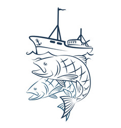 a fishing boat with a catch vector image vector image