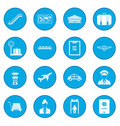 Airport black icon blue vector