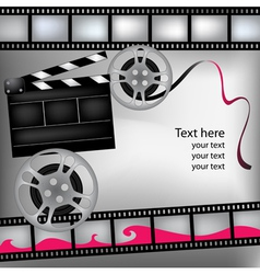 Background with film and clubboard vector image vector image