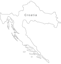 Black White Croatia Outline Map vector image vector image