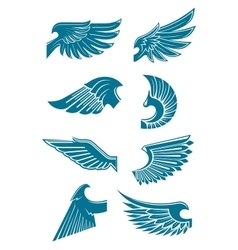Blue angel or bird wings icons for heraldic design vector image vector image