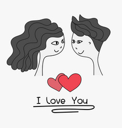 boy and girl lovely together wedding card vector image