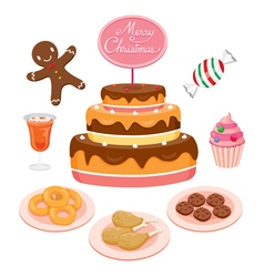 Cake And Food Set For Christmas Day vector image
