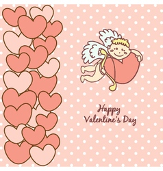 card Happy Valentines Day cupid with bow vector image vector image
