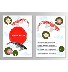 Carp koi asian style template brochure vector